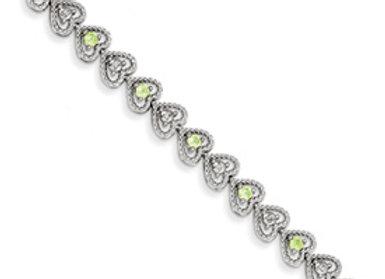 Sterling Silver Peridot Diamond Bracelet