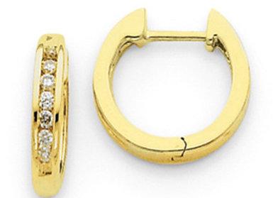 14k Diamond Hinged Hoop Earrings
