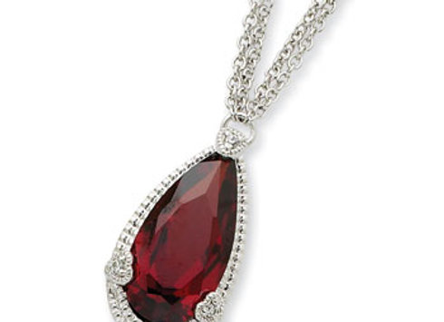 Sterling Silver Dark Red CZ Necklace