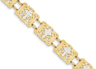 14k Rhodium Fancy Cross Bracelet