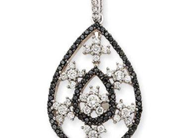 14k WG White & Black Diamond Pendant