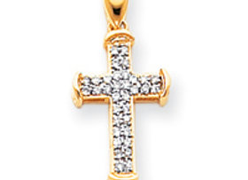 14k & Rhodium Diamond Cross Pendant