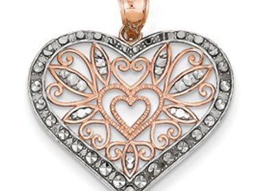 14k Rose Gold Rhodium Plated Diamond Cut Heart