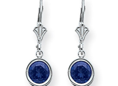 14k White Gold 6mm Sapphire Leverback Earrings