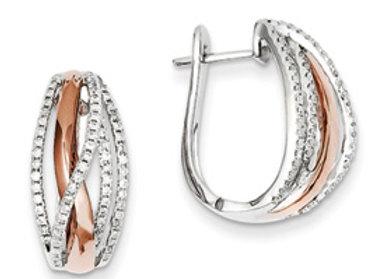 14k Two Tone Diamond Hinged Hoop Earrings