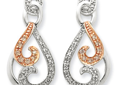 Sterling Silver & Rhodium Diamond Earrings