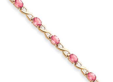 14k 7x5mm Oval Pink Sapphire Bracelet