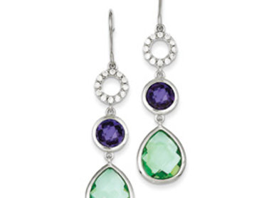 Purple & Clear CZ And Lt. Green Glass Dangle