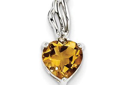 14k White Gold Diamond And Citrine Heart Pendant