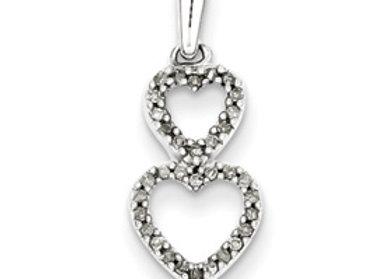 Sterling Silver Diamond Stacked Heart Pendants