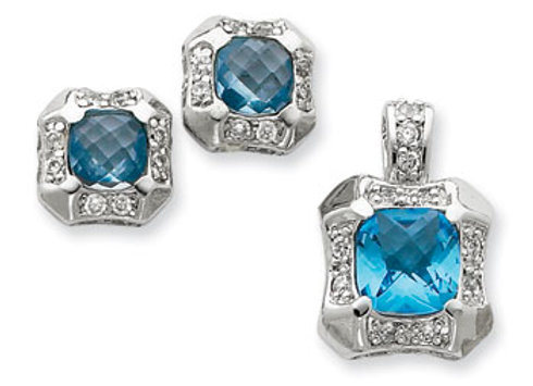 Ster. Silv. Blue & Clear CZ Pendant & Earring Set