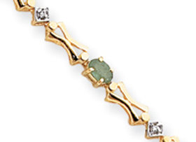 14k Completed Fancy Bow Tie-Link Diamond/Emerald
