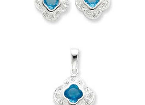 Sterling silver Blue CZ Earrings & Pendant Set