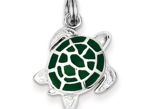 Sterling Silver Green Enamel Turtle Charm