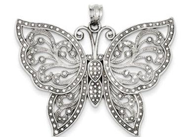 14k WG Diamond Cut Butterfly Pendant