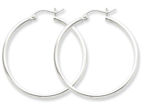 Sterling Silver Rhodium-Plated 2mm Round Hoop