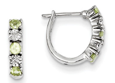 Sterling Silver Peridot Diamond Earrings