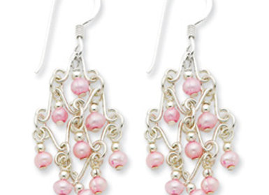 Sterling Silver Pink Cultured Pearl Fancy Dangle