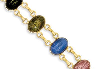 14k 7 Stone Scarab Bracelet