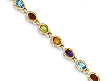 14k Gemstone Rainbow Bracelet