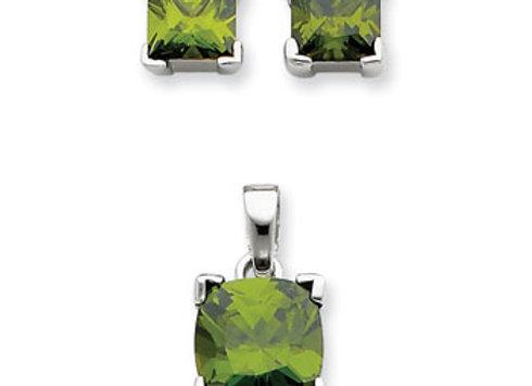 Ster. Silv. Dark Green CZ Pendant & Earring Set
