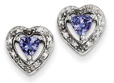 Sterling Silver Tanzanite & Diamond Earrings