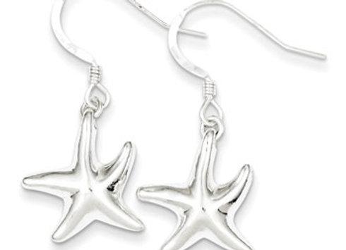 Sterling Silver Star Dangle Earrings