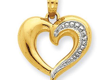 14k & Rhodium Beaded Heart Pendant