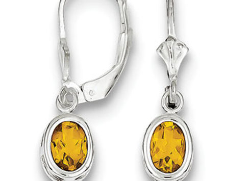 Sterling Silver 7x5mm Oval Citrine Leverback