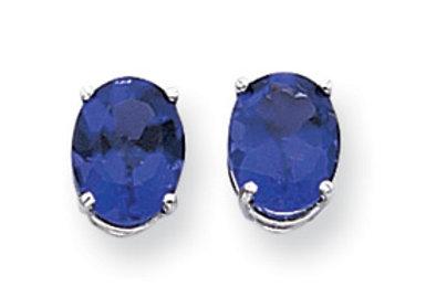 14k White Gold 9x7mm Oval Sapphire Earrings