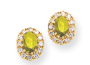 14k 6x4mm Oval Peridot AAA Diamond Earrings
