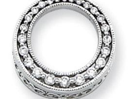 14k White Gold Diamond Circle Journey Pendant