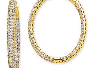 14k Diamond Oval Hoop W/Saftey Clasp Earrings