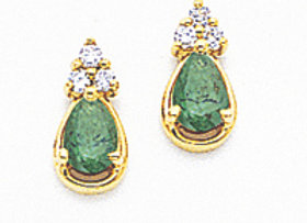 14k 6x4mm Pear Emerald & AA Diamond Earrings