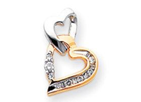 14k Two-Tone Polished AA Quality Diamond Heart