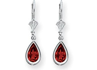 14k White Gold 8x5mm Pear Ruby Leverback Earrings