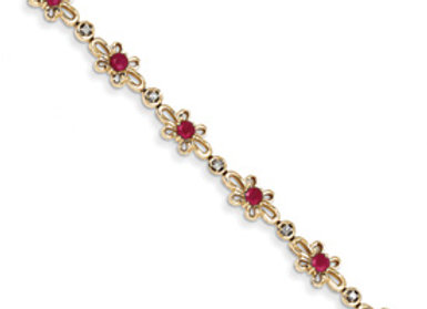 14K Diamond And Ruby Flower Bracelet