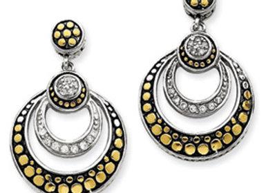 Sterling Silver Antiqued CZ & Vermeil Earrings