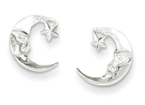 Sterling Silver Moon Mini Earrings