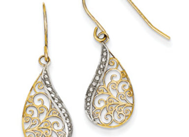 14k & Rhodium Diamond-Cut Filigree Teardrop Dangle