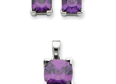Sterling Silver Purple CZ Pendant & Earring Set