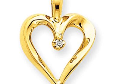 14ky AAA Diamond Heart Pendant