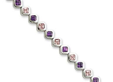 Sterling Silver 7inch Pink & Purple CZ Bracelet