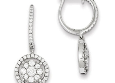 Sterling Silver Diamond Dangle Round Earrings