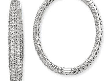 14k WG Diamond Oval Hoop W/Saftey Clasp Earrings