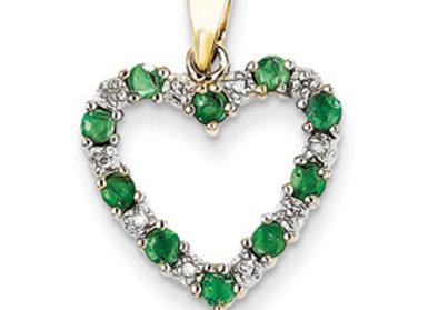 14k Diamond And Emerald Heart Pendant