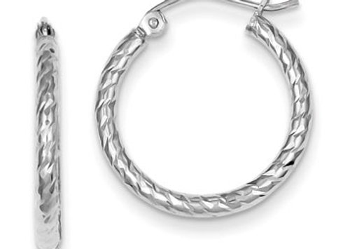 Sterling Silver Rhodium Plated D/C 2x20mm Hoop