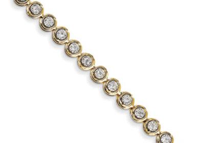 14k Diamond Circle Link Bracelet