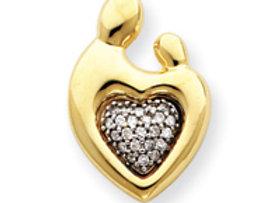 14k Heart Shaped .23ct Diamond Mother & Child
