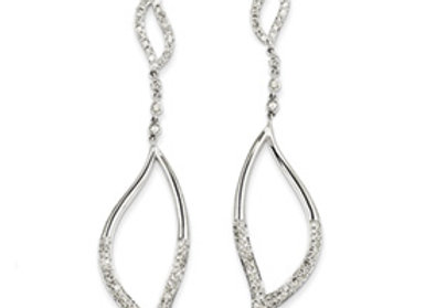 14k White Gold Diamond Leaf Design Post Dangle